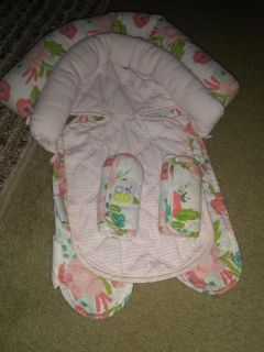 Baby Girls Head Support for car seat and padded straps