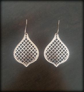 Moroccan Print Dangly Earrings (Rose Gold Finish) - New in Gift Pouch / Porch Pickup