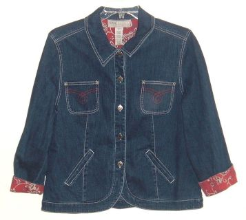 Sag Harbor Sport Cuffed Pattered Sleeve Denim Jean Jacket Womens 16 Plus 16w