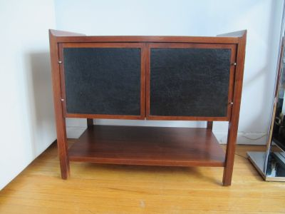 MidCentury Danish Walnut & Leather Compact Cabinet