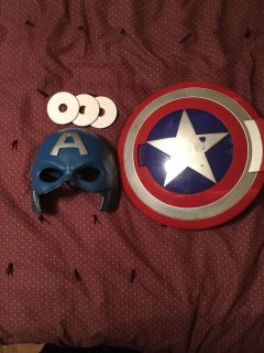 Captain America mask and disk shooting shield