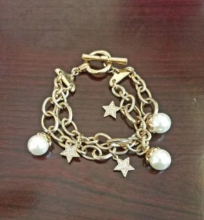 Ladies Goldtone Double Chain Link Bracelet w/Attached Charms