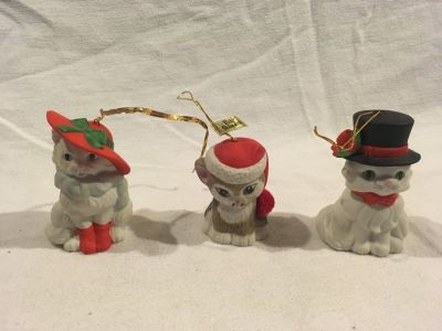 x3 christmas tree ornaments ebeling / reiss cute kittens 3 tall calico white 02025