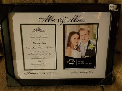 NIB Mr & Mrs. Picture frame, holds invitation and 5 x 7 photo