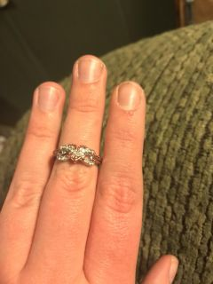 Two-Tone White Sapphire Gemstone Sterling Silver Infinity Heart Ring
