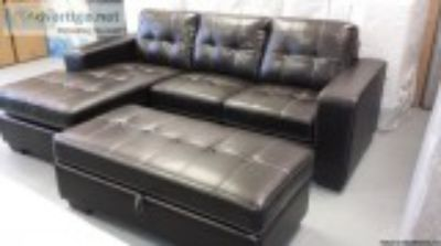 New - Sofa with Chaise and Large Storage Ottoman