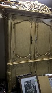 Large Antique Look Storage Cabinet