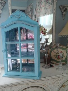 pretty shabby chic turquoise wall cabinet