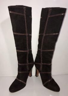 Womens Tall Suede Leather Boots 7.5 Medium Made In Spain By Nina Shoes