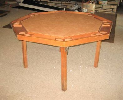 Vintage Wood Poker Table - Octagon - 52""