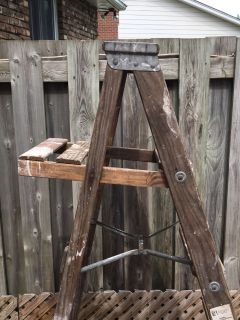Tall Wood Step Ladder Rustic Upcycle Project