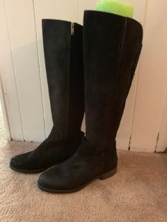 Black suede tall boots- size 8
