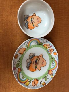 Vintage Enesco Kids are Human Beans, too plate and bowl.
