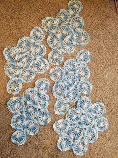 Handmade Blue/White Crochet Lace Doilies for Dresser, Chest, Nightstand
