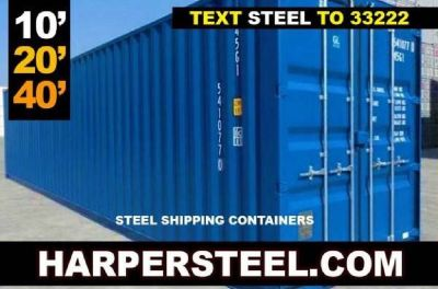 10', 20', 30', and 40' tall steel containers for sale