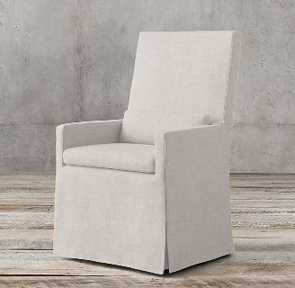 Restoration Hardware Belgian Linen Dining Chairs with Arms