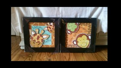 """Safari artwork. The monkies & giraffes are wooden cut outs in the frame. New, still in packaging. 16"""" x 16"""" each"""