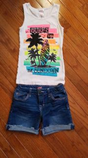 Girls size 10 Justice tank and Lee shorts