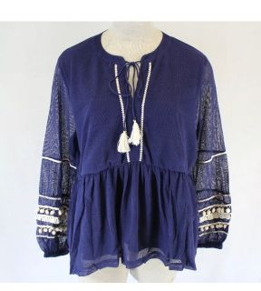 NWT Curations HSN Plus Gauze Peasant Boho Navy Blue Bell Top, Size 2X