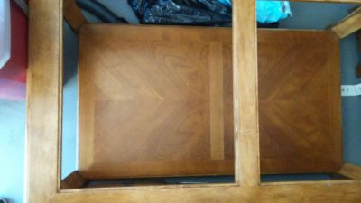 wood coffee table solid with glass inserts