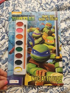 New TMNT ninja turtles paint coloring book with paint set