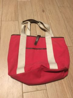 Red Canvas Tote Bag w/ Latching Closure - 16 tall by 18 wide