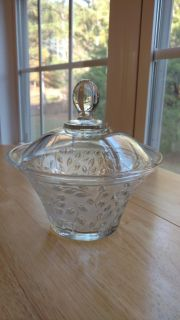 """Beautiful candy dish with cover measures 7"""" by 7"""""""