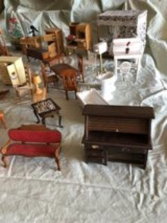 Doll house furniture- over 50 pieces