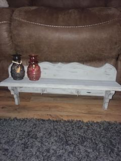SHABBY ANTIQUED DOVE GREY SOLID WOOD SHELF