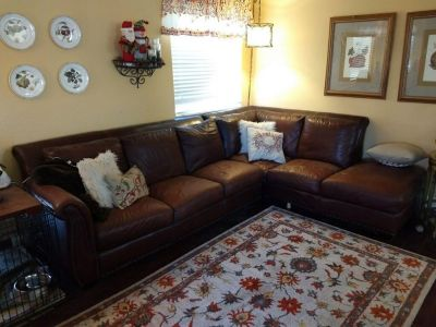 Burgundy Leather Sectional with Ottoman