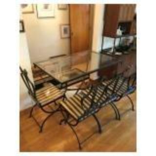 Art Deco Italian Wrought Iron Lyre Swan Set 4 Dining Chairs & Table by Copelon