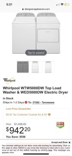 Whirlpool washer and dryer set under two months old. $500 obo