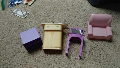 Barbie furniture. Donating tomorrow if not reserved with Pick up