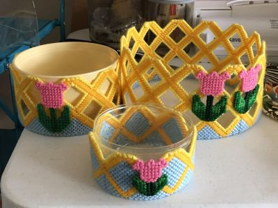3 Plastic Rose Flowers Containers
