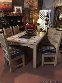Custom built solid ash dining table & chairs