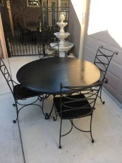 Solid Wood and Wrought Iron 5 Piece Dining Set
