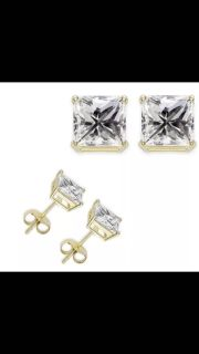 Earrings gold plated .50 carat princess 4MM studs