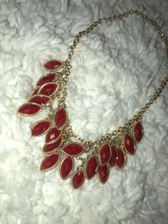 Short Gold Chain Necklace with Dangling Red Stones