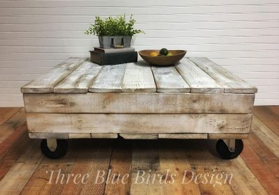 Industrial Style Farmhouse Coffee Table in Distressed White