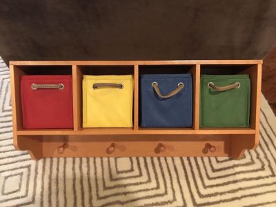 Wooden rack with removable fabric organizers 23.5 wide