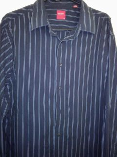 Report Collection Size XL Dark Blue Striped Button Down Shirt