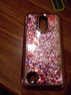Lg k20 rose gold glitter case with diamond accents down the sides