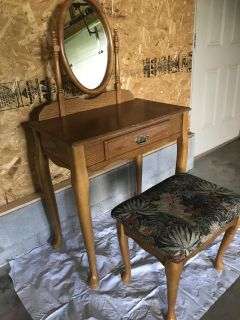 Wood Vanity With Bench and Mirror