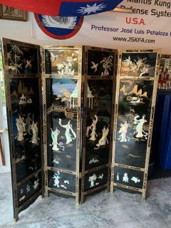 Oriental Furniture 6 ft. Tall Dancing Ladies 4 Panel Screen Room Divider