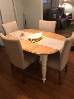 Country dining table and 4 parsons chairs.