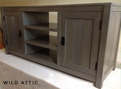 TV Media Center Console Trendy Hand Painted Gray