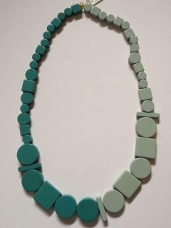 Kate Spade Saturday Great Shapes Two-Tone Block Bead Necklace Blue Lagoon