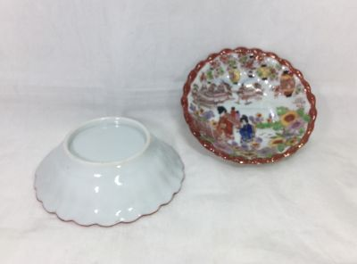 Scalloped Dessert Bowl Soko China Vintage Handpainted Japan Detailed Scenery TWO