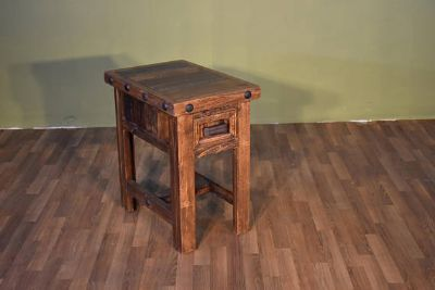 Rustic Reclaimed Solid Wood Side Table with Dra...