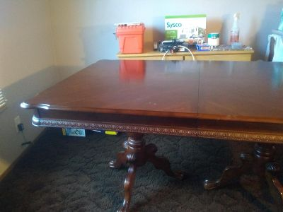 Hand carved dining table, seats six